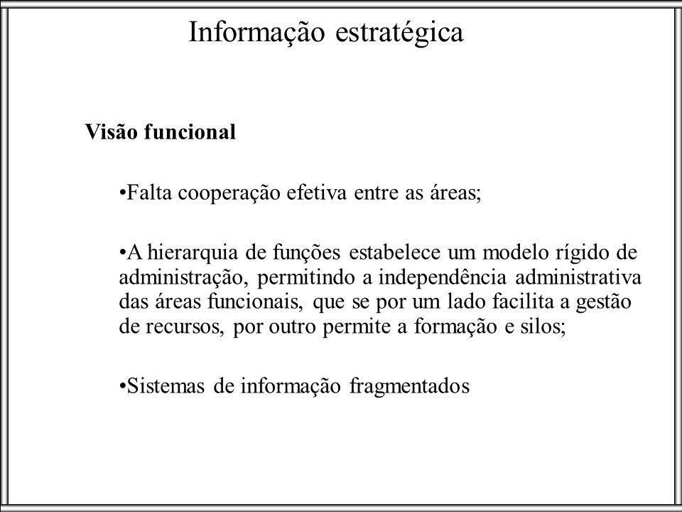 Visão funcional Falta cooperação efetiva entre as áreas; A hierarquia de funções estabelece um modelo rígido de administração, permitindo a independên