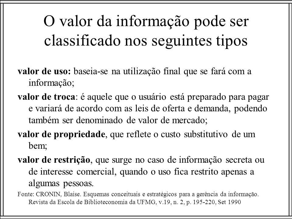 O valor da informação pode ser classificado nos seguintes tipos valor de uso: baseia-se na utilização final que se fará com a informação; valor de tro