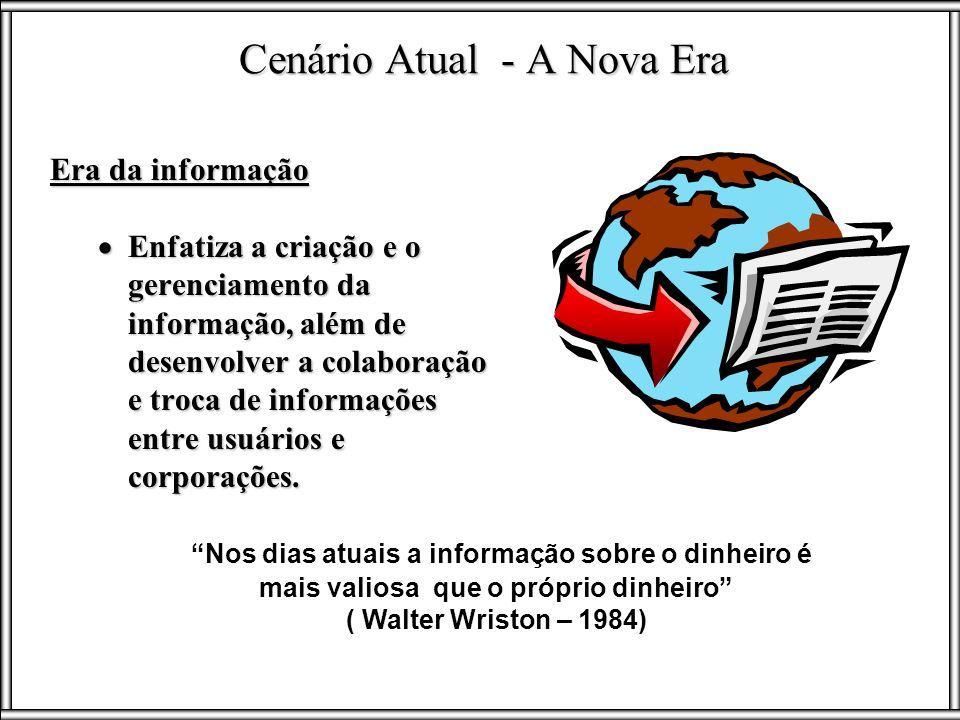 Era da informação Enfatiza a criação e o gerenciamento da informação, além de desenvolver a colaboração e troca de informações entre usuários e corpor
