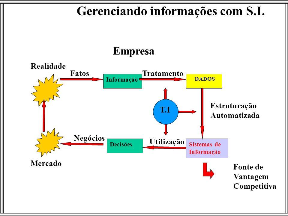 DecisõesSistemas de Informação DADOS Informação Mercado Realidade Empresa Estruturação Automatizada Tratamento Utilização Fatos Negócios Gerenciando i