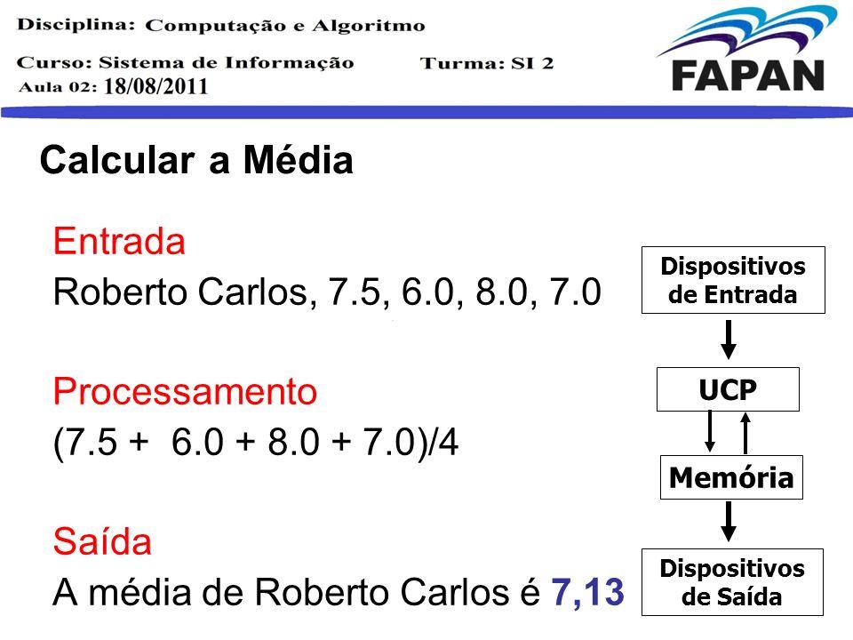 Situação Final Entrada Roberto Carlos, 7.5, 6.0, 8.0, 7.0 Processamento Se (7.5 + 6.0 + 8.0 + 7.0)/4>=7.0 Aprovado Senão Reprovado Saída Roberto Carlos está Aprovado Dispositivos de Entrada Memória UCP Dispositivos de Saída