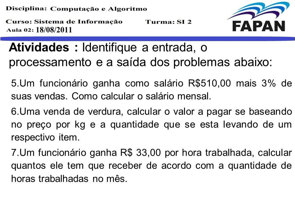 Atividades : Identifique a entrada, o processamento e a saída dos problemas abaixo: 5.Um funcionário ganha como salário R$510,00 mais 3% de suas venda