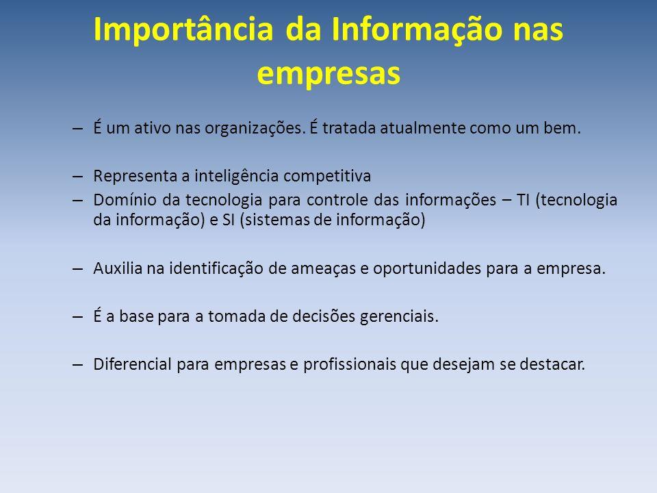 Importância da Informação nas empresas – É um ativo nas organizações. É tratada atualmente como um bem. – Representa a inteligência competitiva – Domí