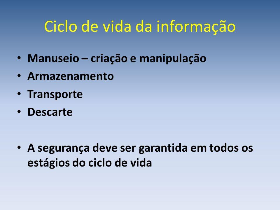 Ciclo de vida da informação Manuseio – criação e manipulação Armazenamento Transporte Descarte A segurança deve ser garantida em todos os estágios do