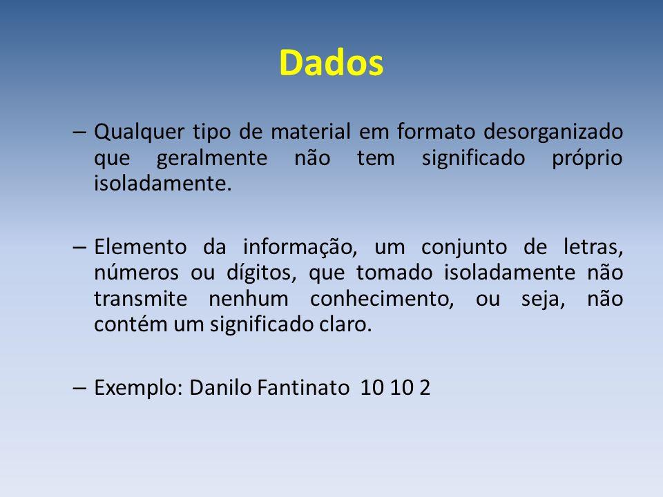Dados – Qualquer tipo de material em formato desorganizado que geralmente não tem significado próprio isoladamente. – Elemento da informação, um conju