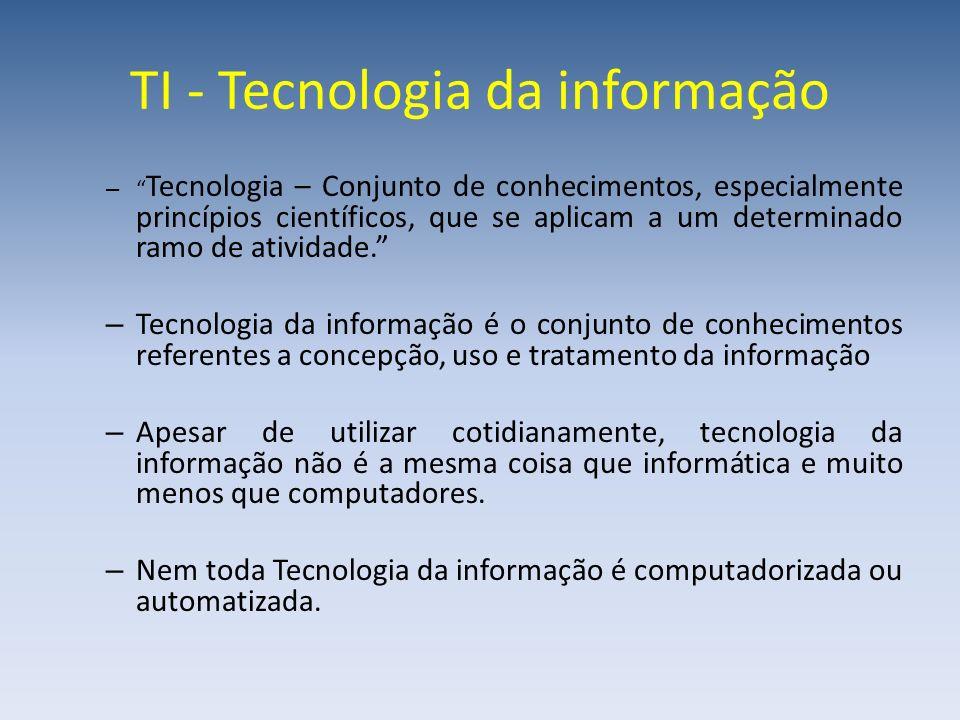 TI - Tecnologia da informação – Tecnologia – Conjunto de conhecimentos, especialmente princípios científicos, que se aplicam a um determinado ramo de