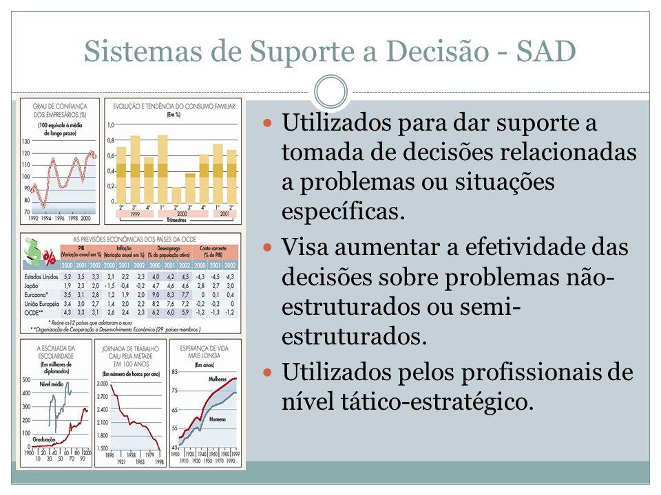 Características de um SIG São projetados para servir o monitoramento, controle, tomada de decisão e atividades administrativas da média gerência (níve