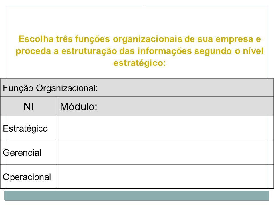 MODELO DE INFORMAÇÕES ORGANIZACIONAIS Função Organizacional: Financeira NIMódulo: Contas a Receber Estratégico Valor total das contas a receber versus
