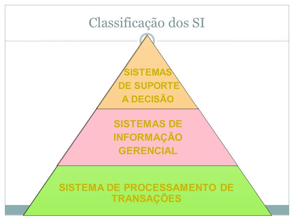 As informações podem ser estruturadas em níveis ou tipos de informação: Estratégica Gerencial/Tática Operacional Podem estar distribuídas nas respectivas funções organizacionais.