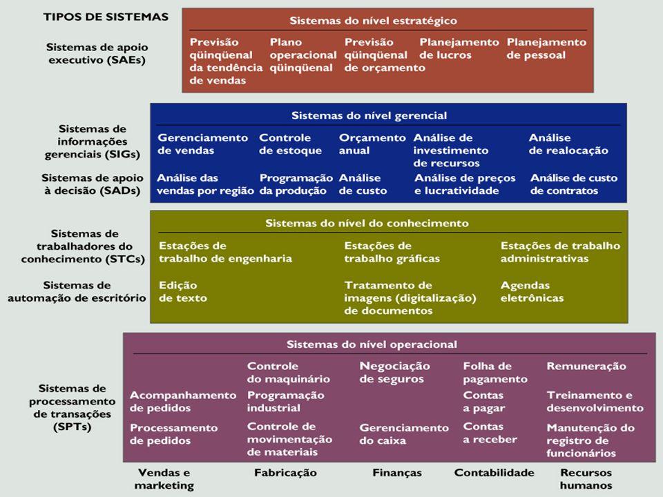 Vendas e Marketing ProduçãoFinançasContabilidade Recursos Humanos Nível Operacional Nível de Conhecimento Nível Gerencial Nível Estratégico Gerentes S