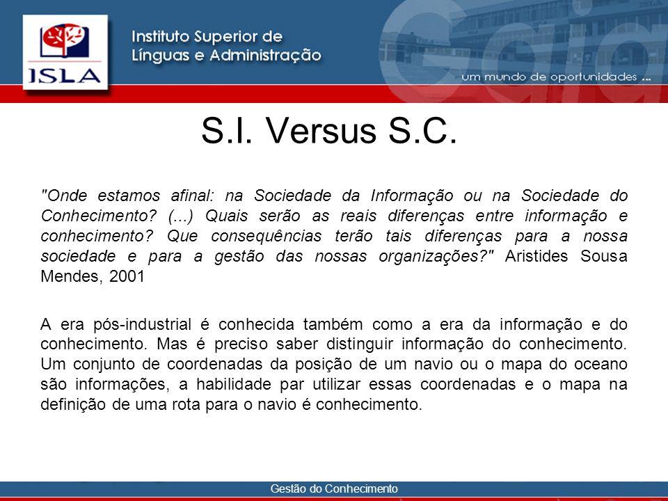 Gestão do Conhecimento S.I. Versus S.C.