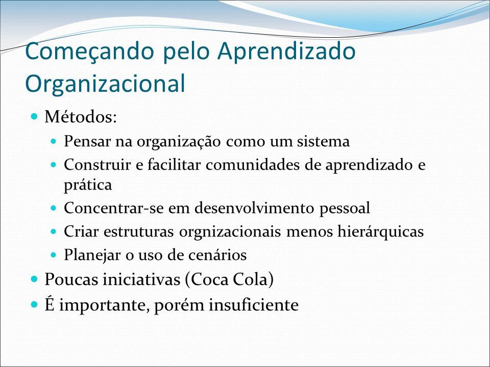 Começando pelo Aprendizado Organizacional Métodos: Pensar na organização como um sistema Construir e facilitar comunidades de aprendizado e prática Concentrar-se em desenvolvimento pessoal Criar estruturas orgnizacionais menos hierárquicas Planejar o uso de cenários Poucas iniciativas (Coca Cola) É importante, porém insuficiente