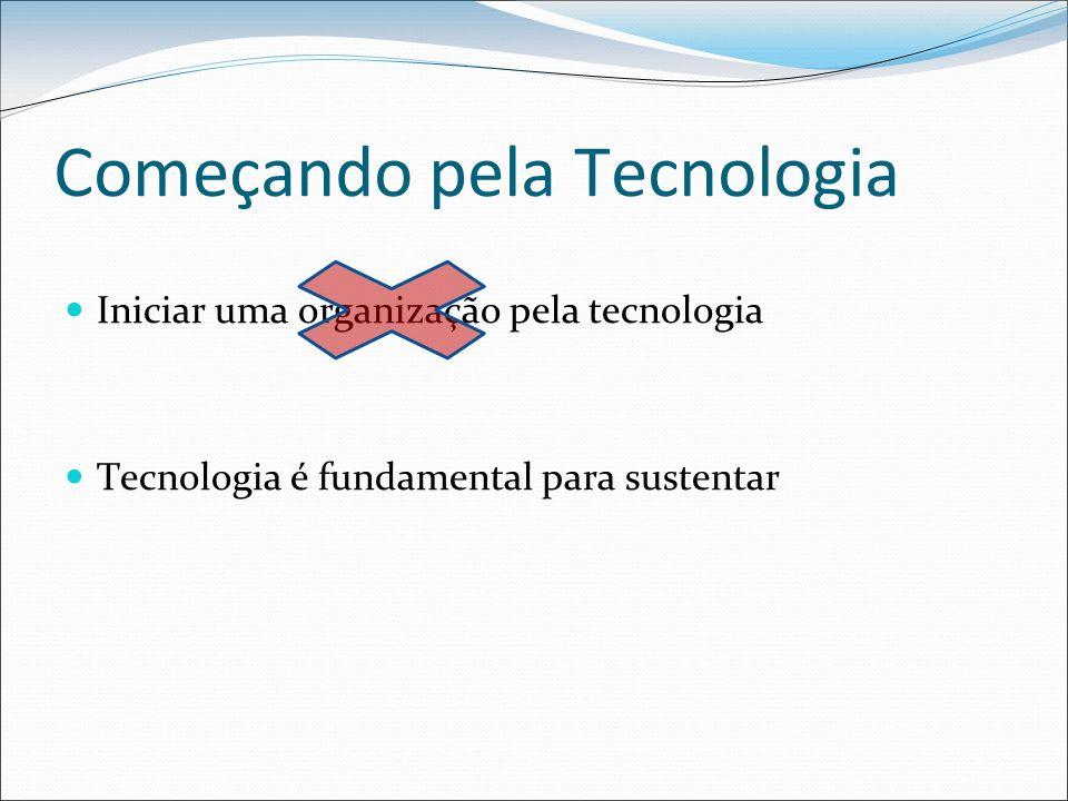 Começando pela Tecnologia Iniciar uma organização pela tecnologia Tecnologia é fundamental para sustentar