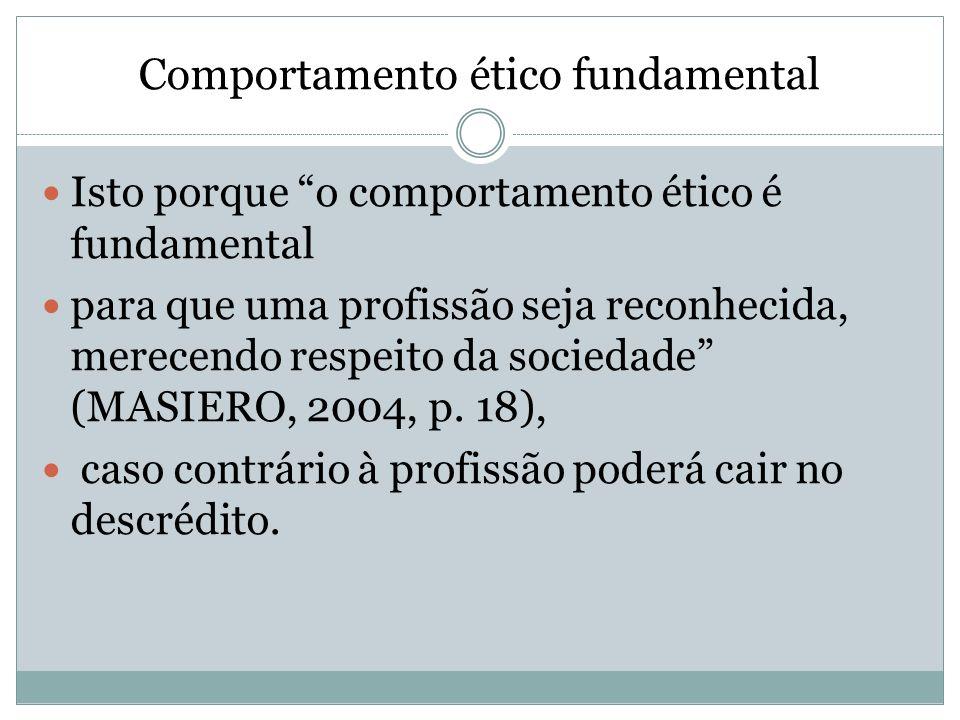 Comportamento ético fundamental Isto porque o comportamento ético é fundamental para que uma profissão seja reconhecida, merecendo respeito da socieda