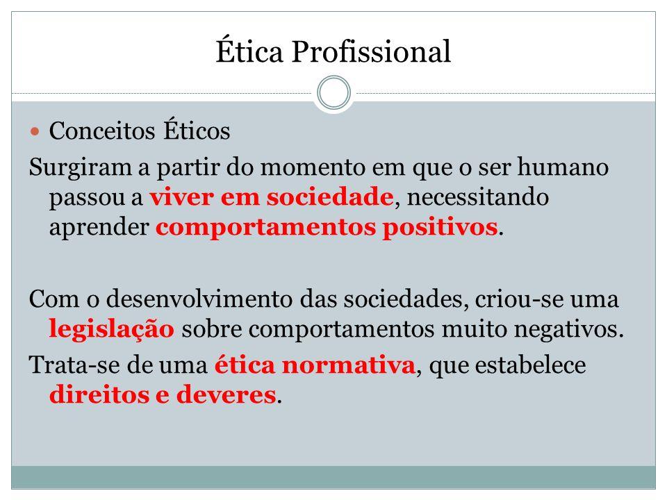 Ética Profissional Conceitos Éticos Surgiram a partir do momento em que o ser humano passou a viver em sociedade, necessitando aprender comportamentos