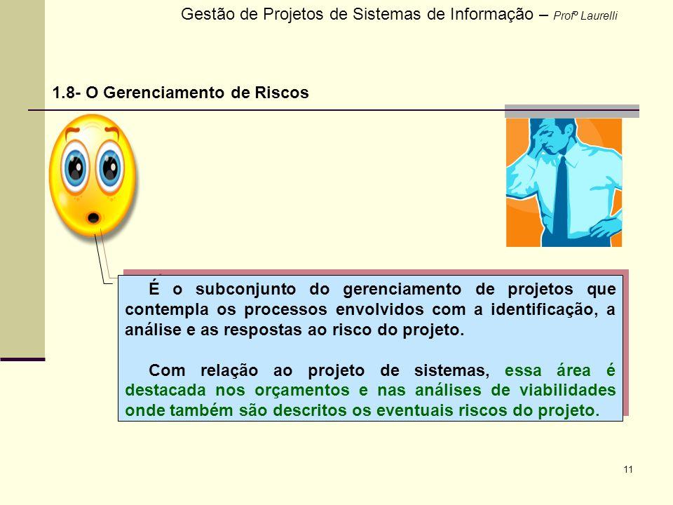 11 Gestão de Projetos de Sistemas de Informação – Profº Laurelli 1.8- O Gerenciamento de Riscos É o subconjunto do gerenciamento de projetos que conte