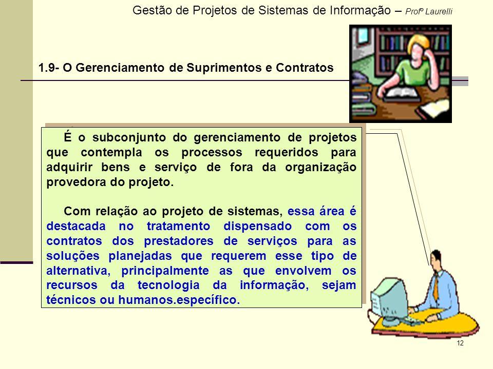 12 Gestão de Projetos de Sistemas de Informação – Profº Laurelli 1.9- O Gerenciamento de Suprimentos e Contratos É o subconjunto do gerenciamento de p