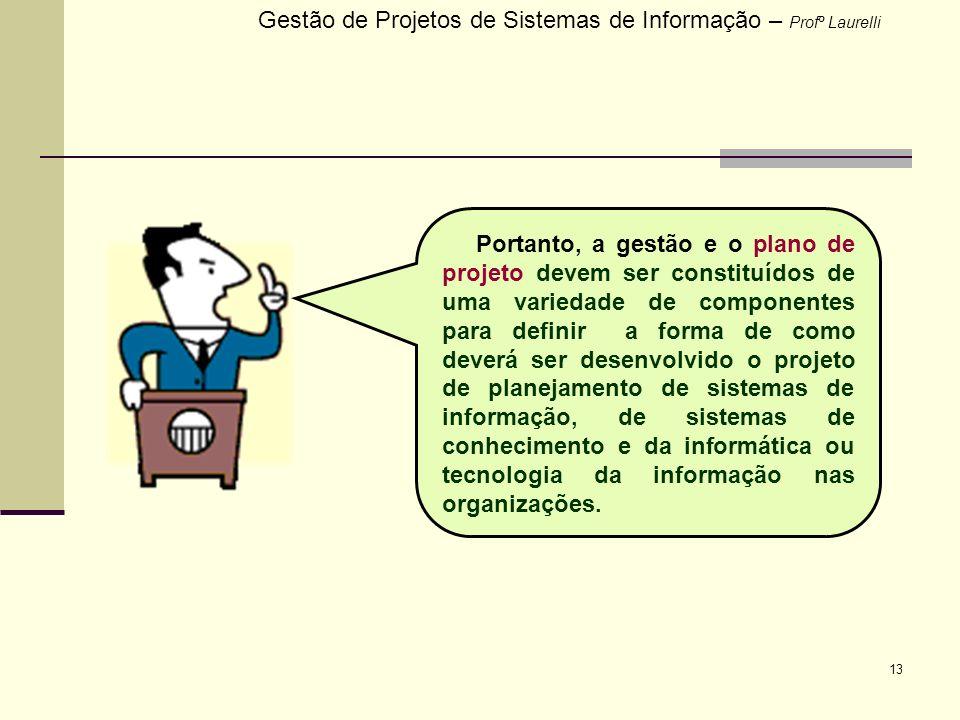 13 Gestão de Projetos de Sistemas de Informação – Profº Laurelli Portanto, a gestão e o plano de projeto devem ser constituídos de uma variedade de co