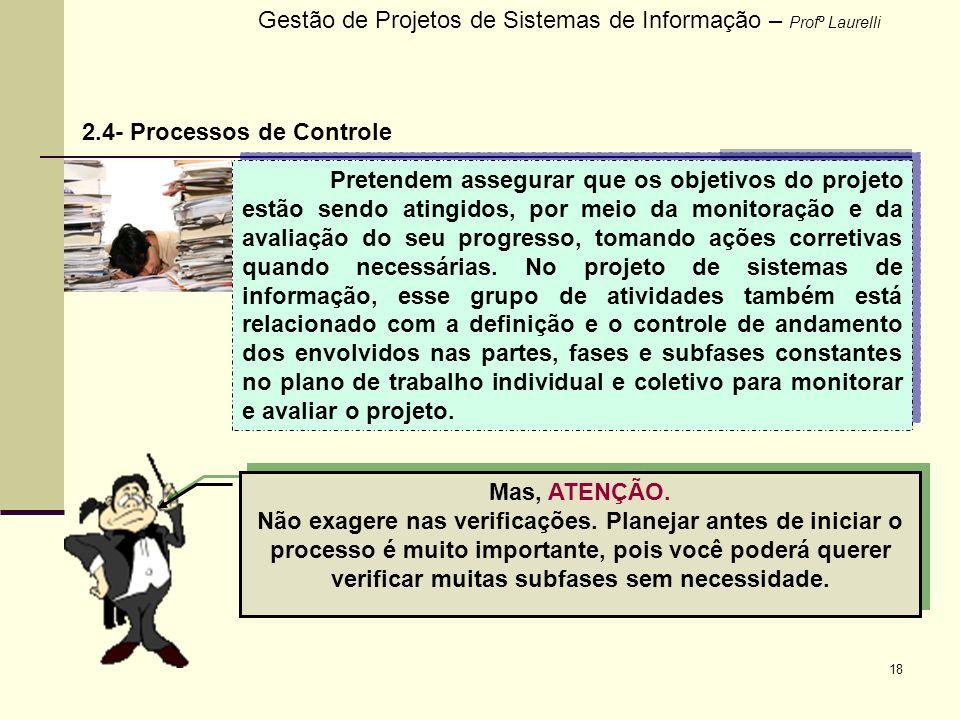 18 Gestão de Projetos de Sistemas de Informação – Profº Laurelli 2.4- Processos de Controle Pretendem assegurar que os objetivos do projeto estão send