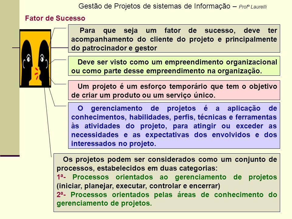 2 Gestão de Projetos de sistemas de Informação – Profº Laurelli Fator de Sucesso Para que seja um fator de sucesso, deve ter acompanhamento do cliente