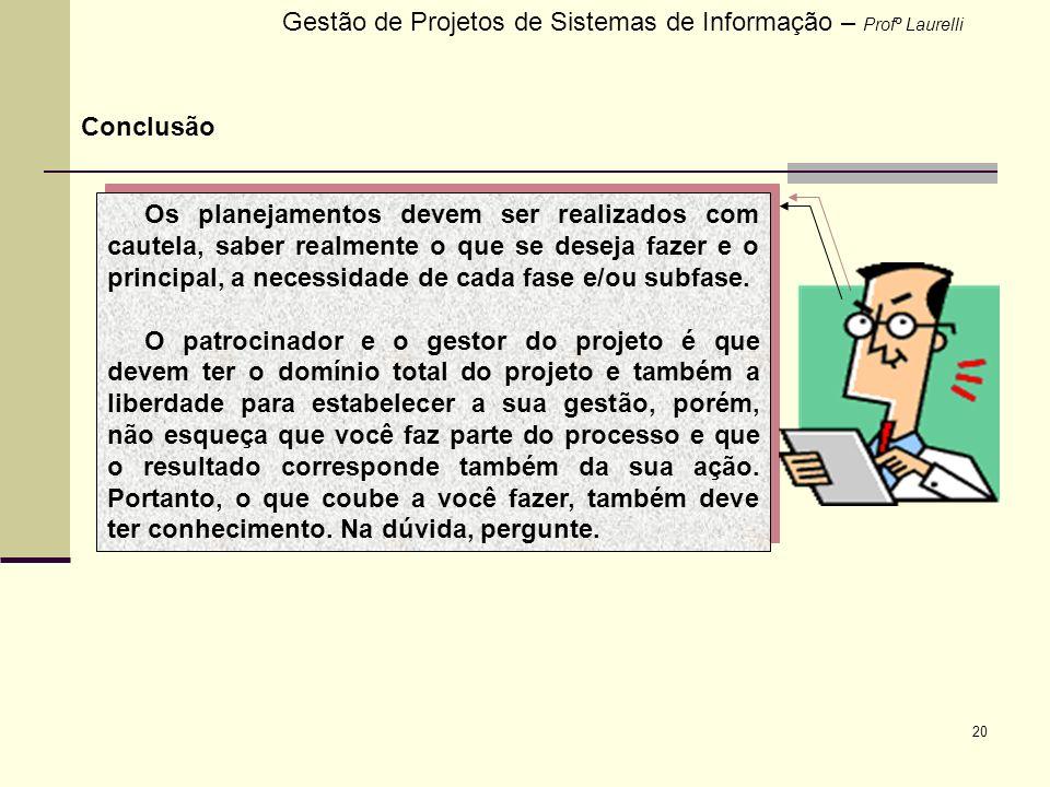 20 Gestão de Projetos de Sistemas de Informação – Profº Laurelli Conclusão Os planejamentos devem ser realizados com cautela, saber realmente o que se