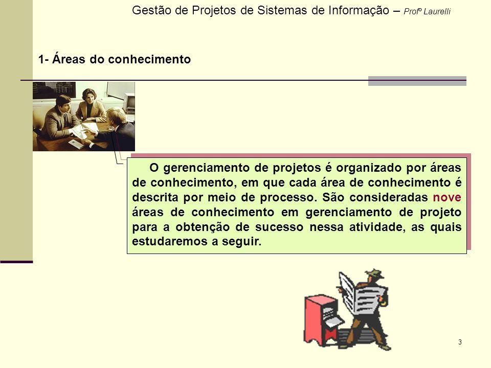 14 2- Fases e processos do gerenciamento Gestão de Projetos de Sistemas de Informação – Profº Laurelli Os processos do gerenciamento de projetos contemplam as suas áreas de conhecimento.