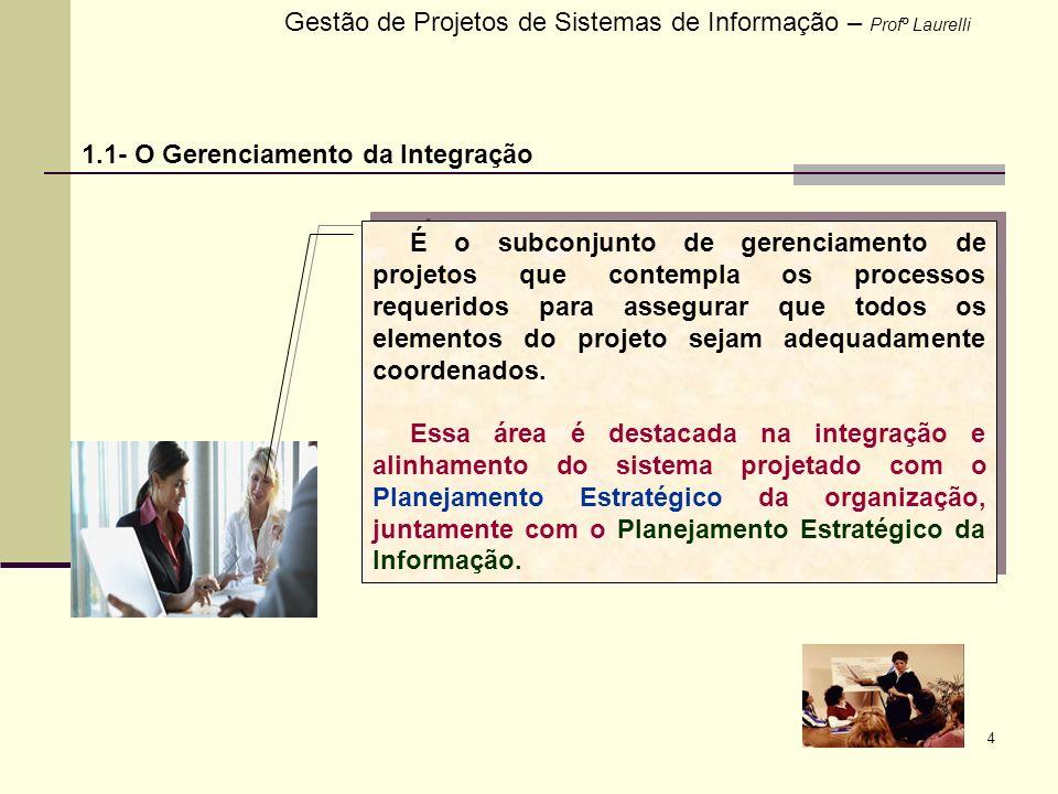 4 Gestão de Projetos de Sistemas de Informação – Profº Laurelli 1.1- O Gerenciamento da Integração É o subconjunto de gerenciamento de projetos que co