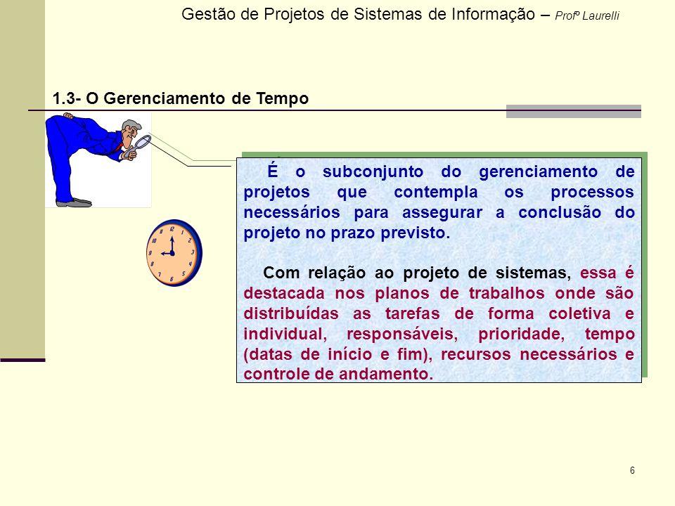 6 Gestão de Projetos de Sistemas de Informação – Profº Laurelli 1.3- O Gerenciamento de Tempo É o subconjunto do gerenciamento de projetos que contemp