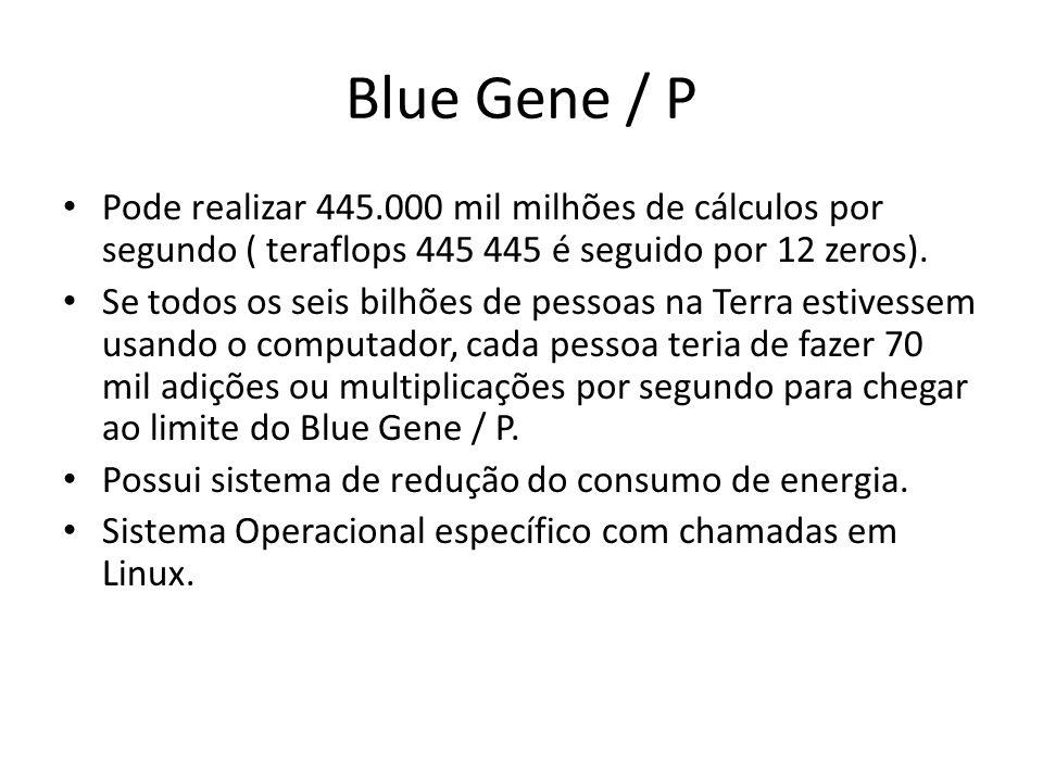 Blue Gene / P Pode realizar 445.000 mil milhões de cálculos por segundo ( teraflops 445 445 é seguido por 12 zeros). Se todos os seis bilhões de pesso