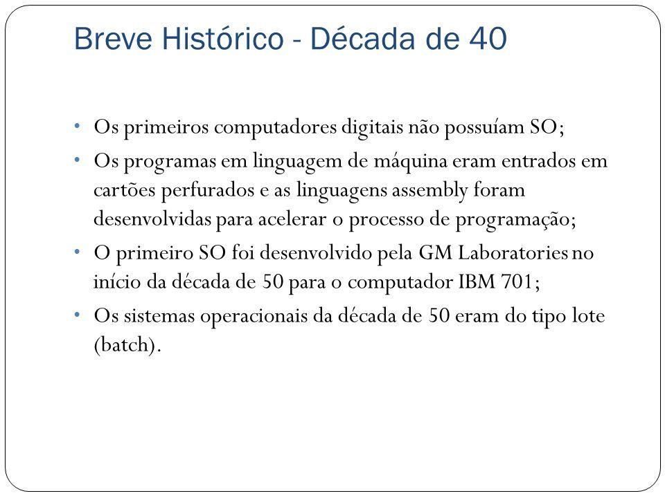 Breve Histórico - Década de 40 Os primeiros computadores digitais não possuíam SO; Os programas em linguagem de máquina eram entrados em cartões perfu