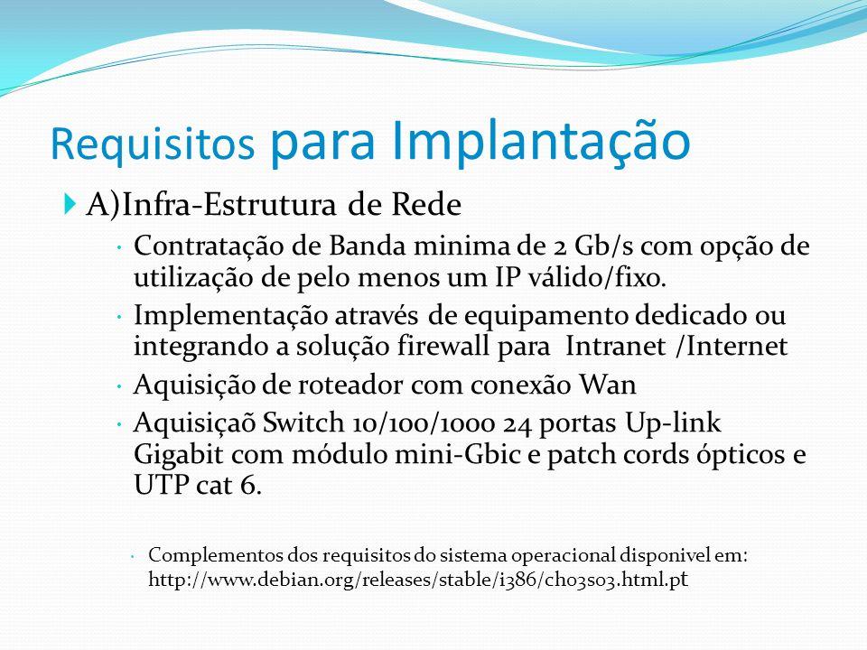Requisitos para Implantação A)Infra-Estrutura de Rede Contratação de Banda minima de 2 Gb/s com opção de utilização de pelo menos um IP válido/fixo. I