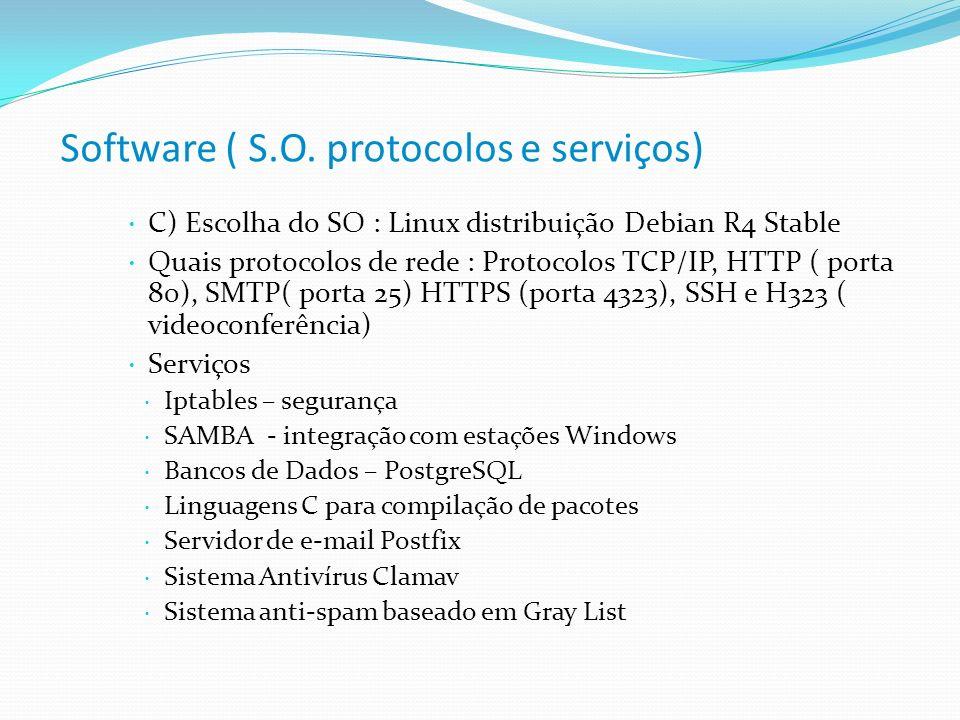 Software ( S.O. protocolos e serviços) C) Escolha do SO : Linux distribuição Debian R4 Stable Quais protocolos de rede : Protocolos TCP/IP, HTTP ( por