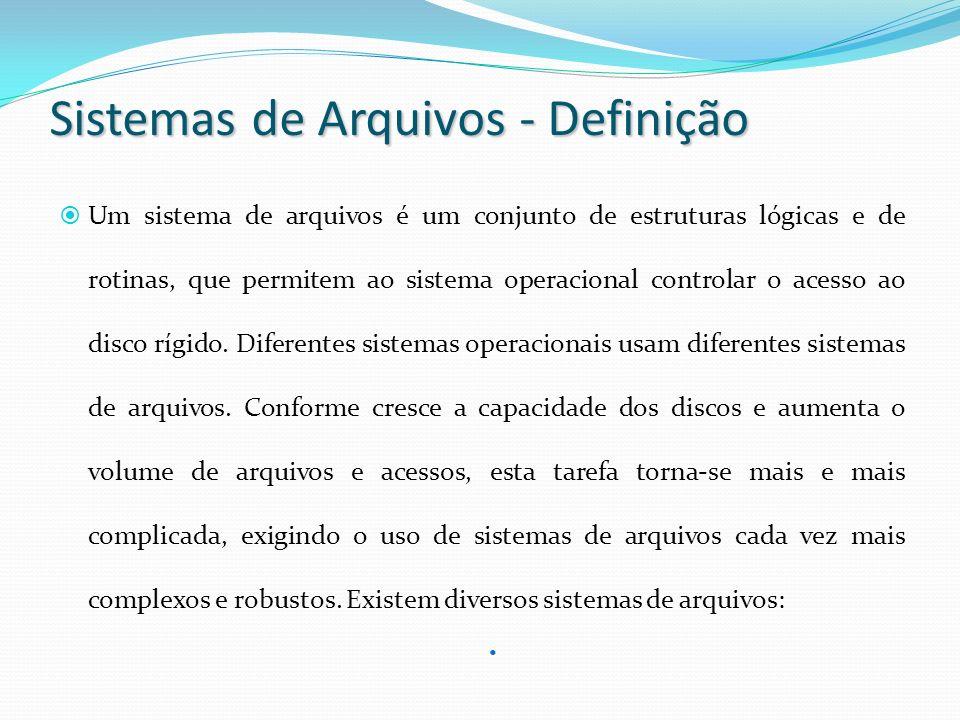 Sistemas de Arquivos - Definição Um sistema de arquivos é um conjunto de estruturas lógicas e de rotinas, que permitem ao sistema operacional controla