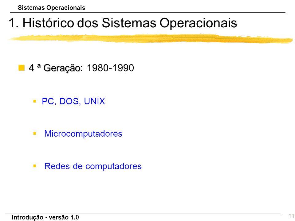 Sistemas Operacionais Introdução - versão 1.0 11 1. Histórico dos Sistemas Operacionais n4 ª Geração n4 ª Geração: 1980-1990 §PC, DOS, UNIX § Microcom