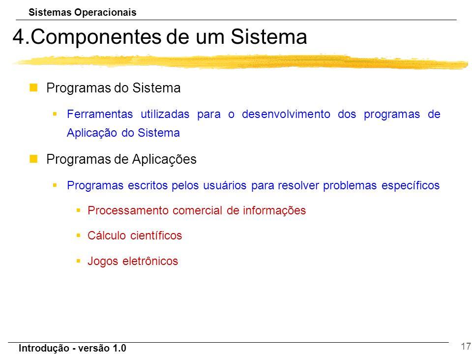 Sistemas Operacionais Introdução - versão 1.0 17 4.Componentes de um Sistema nProgramas do Sistema §Ferramentas utilizadas para o desenvolvimento dos