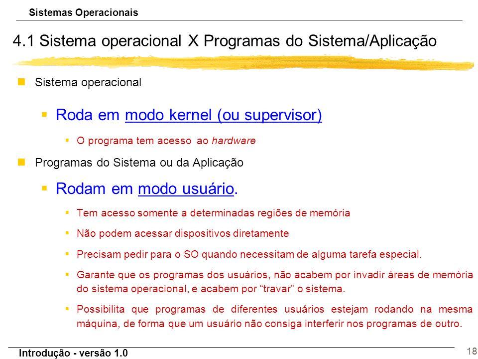 Sistemas Operacionais Introdução - versão 1.0 18 4.1 Sistema operacional X Programas do Sistema/Aplicação nSistema operacional §Roda em modo kernel (o