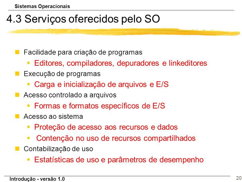 Sistemas Operacionais Introdução - versão 1.0 20 4.3 Serviços oferecidos pelo SO Facilidade para criação de programas §Editores, compiladores, depurad