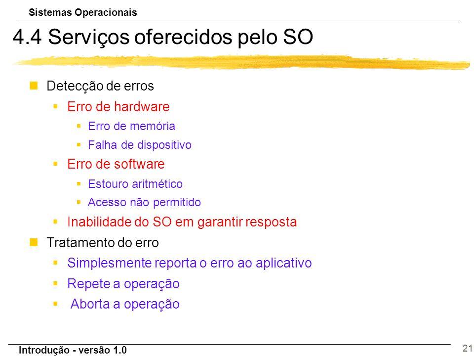 Sistemas Operacionais Introdução - versão 1.0 21 4.4 Serviços oferecidos pelo SO nDetecção de erros §Erro de hardware §Erro de memória §Falha de dispo