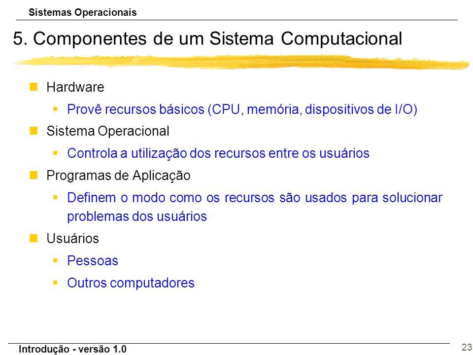 Sistemas Operacionais Introdução - versão 1.0 23 5. Componentes de um Sistema Computacional nHardware §Provê recursos básicos (CPU, memória, dispositi