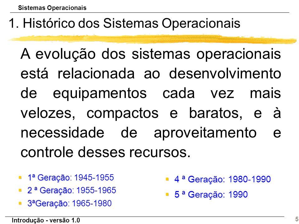 Introdução - versão 1.0 5 1. Histórico dos Sistemas Operacionais A evolução dos sistemas operacionais está relacionada ao desenvolvimento de equipamen