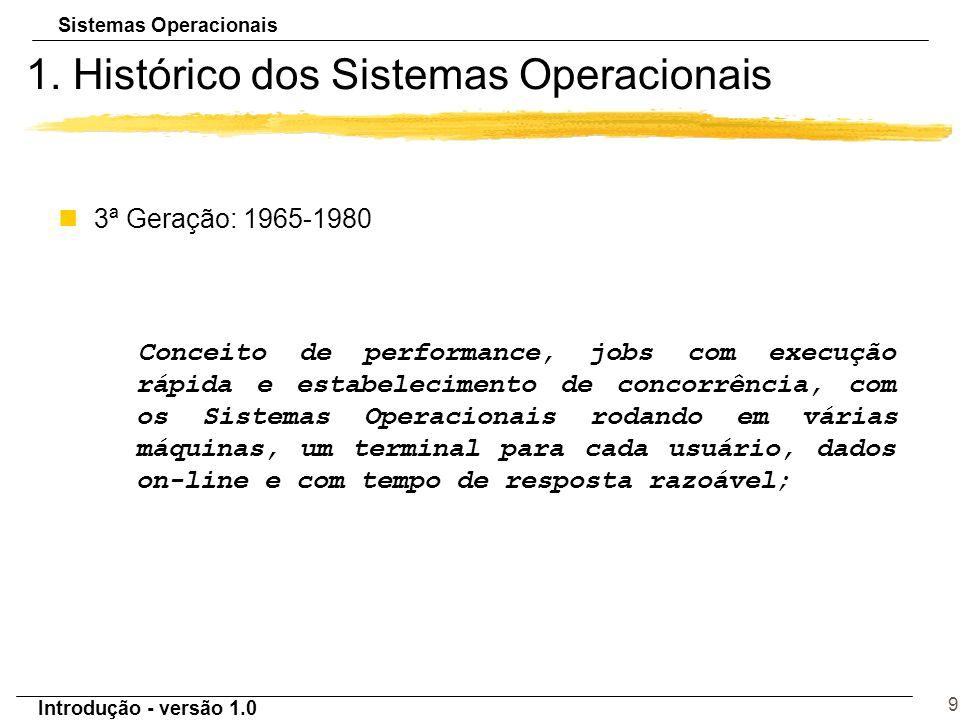 Sistemas Operacionais Introdução - versão 1.0 9 1. Histórico dos Sistemas Operacionais n3ª Geração: 1965-1980 Conceito de performance, jobs com execuç