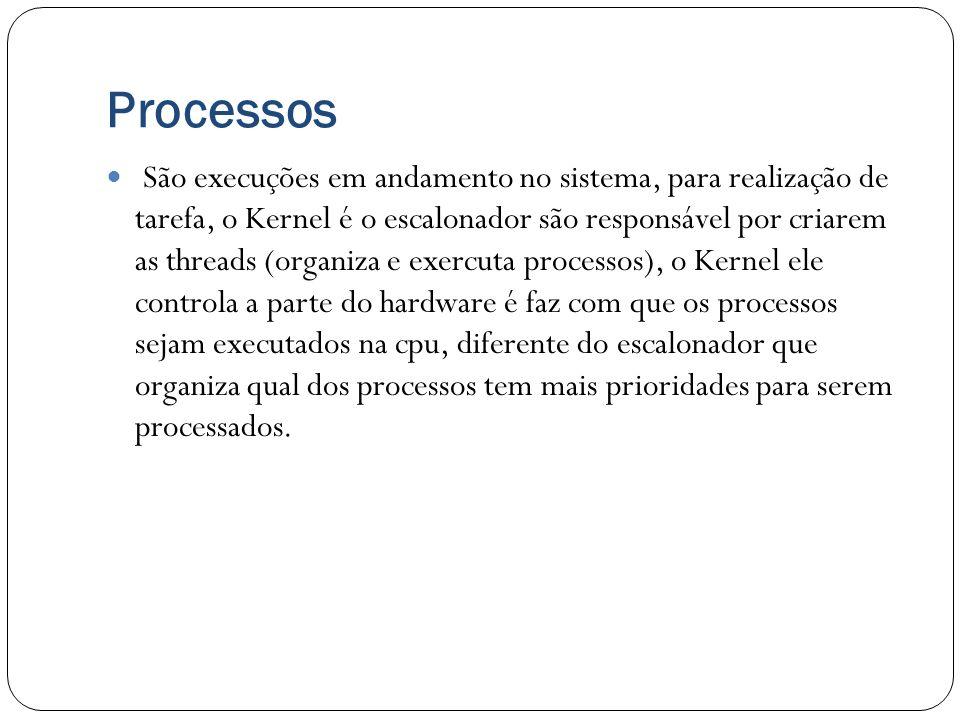 Processos São execuções em andamento no sistema, para realização de tarefa, o Kernel é o escalonador são responsável por criarem as threads (organiza