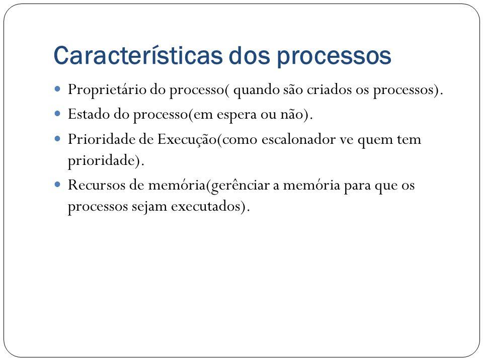 Características dos processos Proprietário do processo( quando são criados os processos). Estado do processo(em espera ou não). Prioridade de Execução