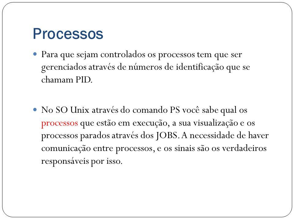 Processos Para que sejam controlados os processos tem que ser gerenciados através de números de identificação que se chamam PID. No SO Unix através do