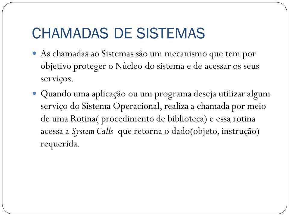 CHAMADAS DE SISTEMAS As chamadas ao Sistemas são um mecanismo que tem por objetivo proteger o Núcleo do sistema e de acessar os seus serviços. Quando