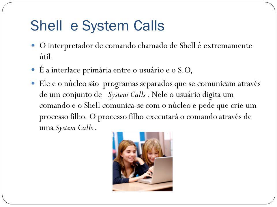 Shell e System Calls O interpretador de comando chamado de Shell é extremamente útil. É a interface primária entre o usuário e o S.O, Ele e o núcleo s