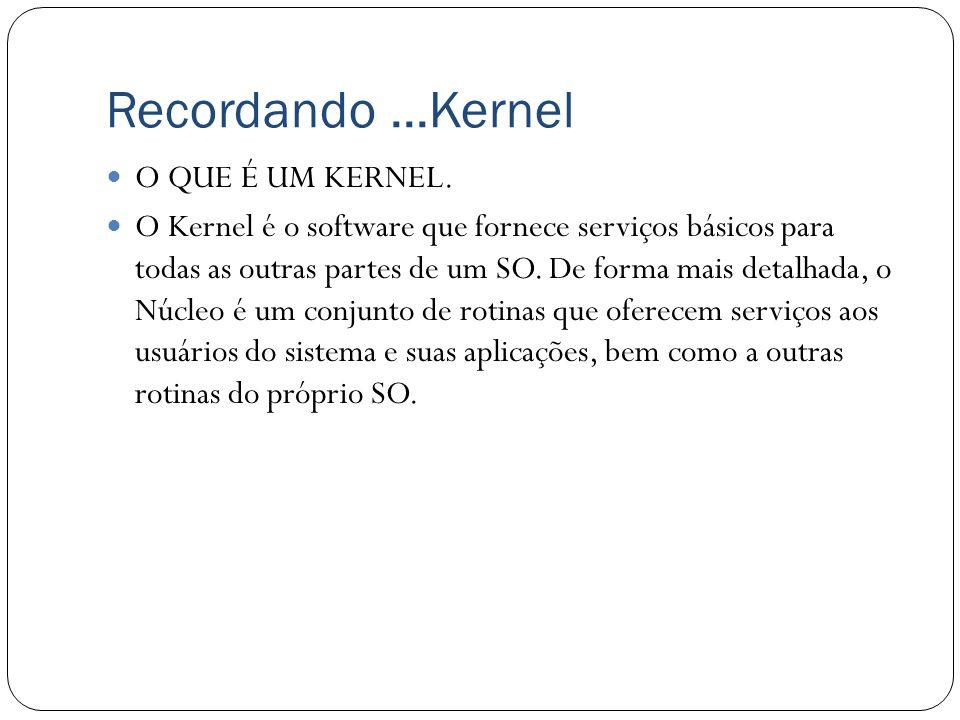 Recordando...Kernel O QUE É UM KERNEL. O Kernel é o software que fornece serviços básicos para todas as outras partes de um SO. De forma mais detalhad