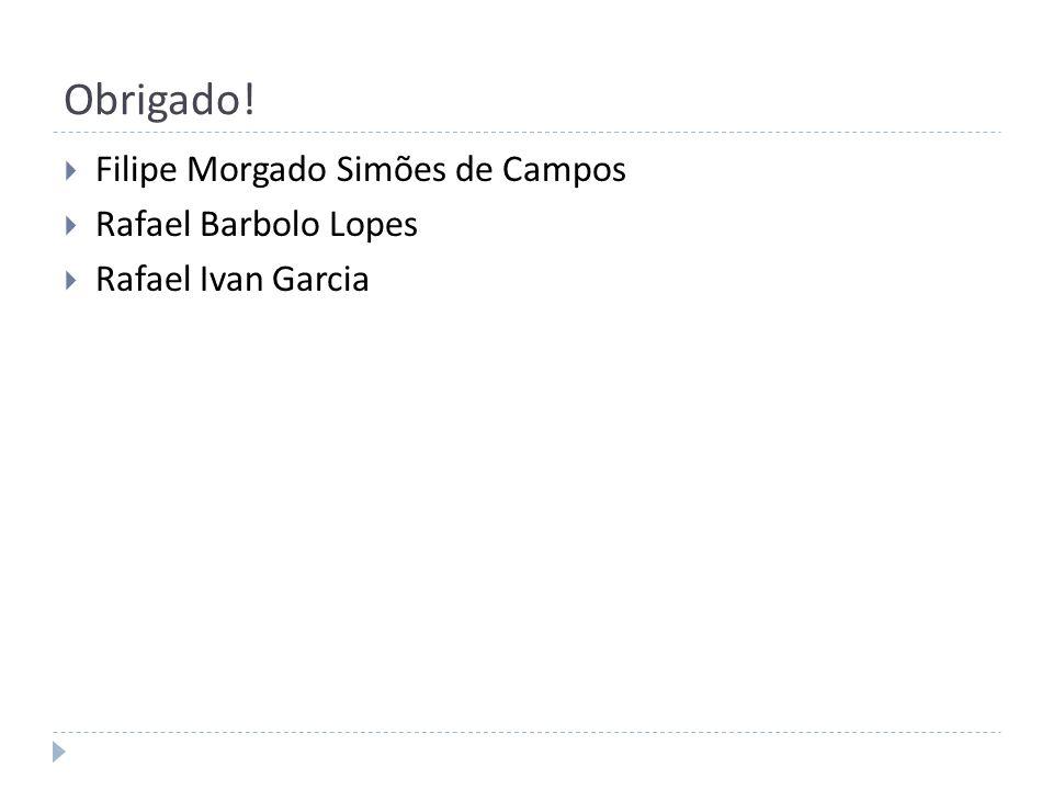 Obrigado! Filipe Morgado Simões de Campos Rafael Barbolo Lopes Rafael Ivan Garcia