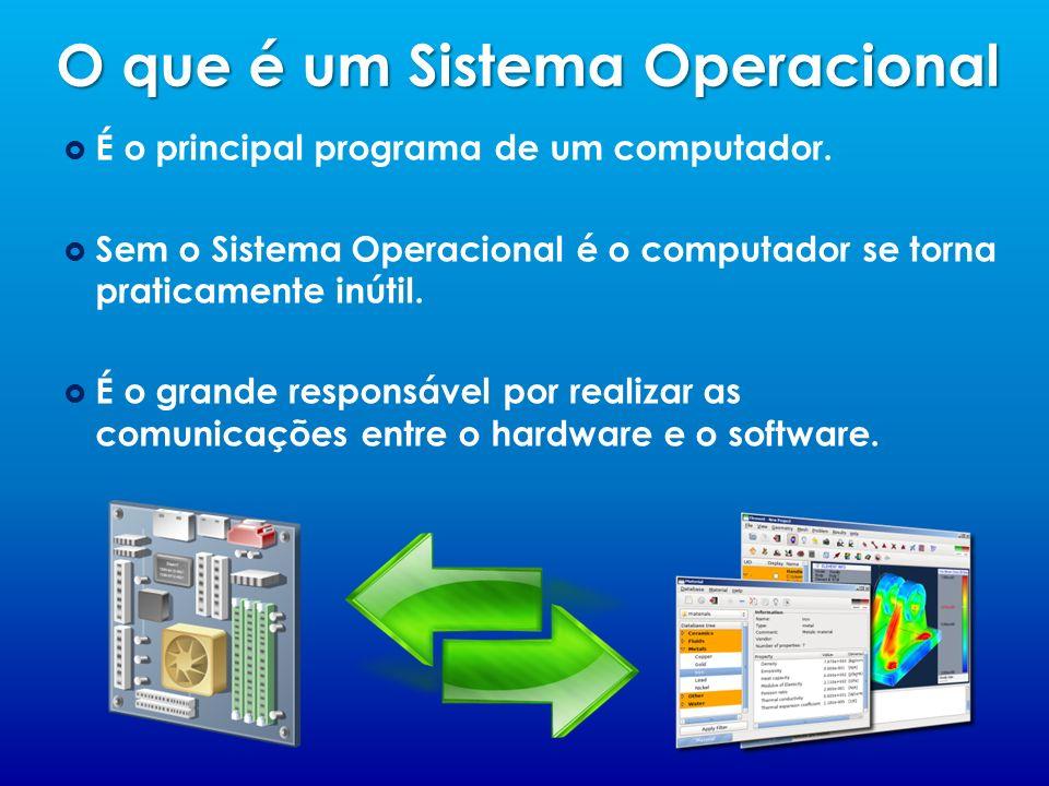 O que é um Sistema Operacional É o principal programa de um computador. Sem o Sistema Operacional é o computador se torna praticamente inútil. É o gra