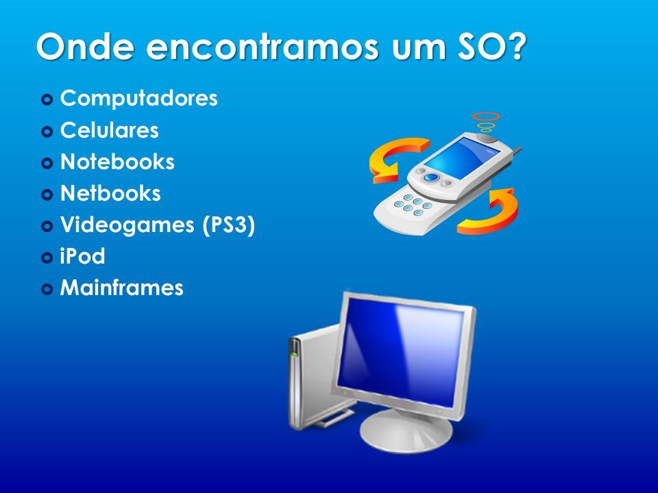 Onde encontramos um SO? Computadores Celulares Notebooks Netbooks Videogames (PS3) iPod Mainframes